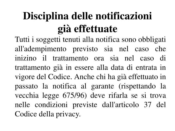 Disciplina delle notificazioni già effettuate