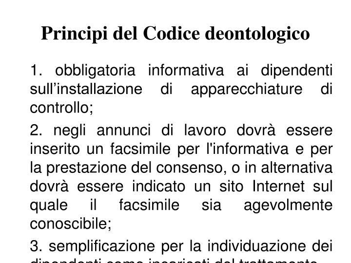 Principi del Codice deontologico