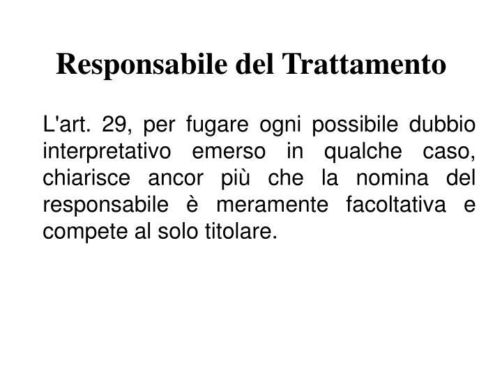 Responsabile del Trattamento