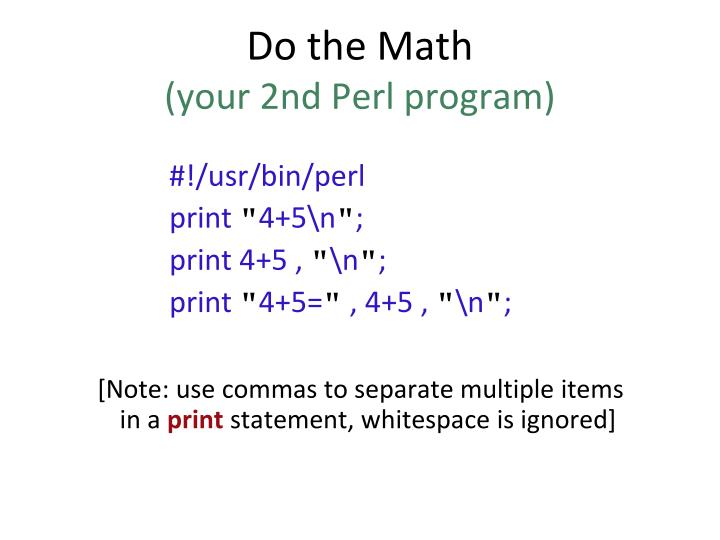 Do the math your 2nd perl program