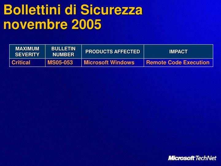 Bollettini di sicurezza novembre 2005