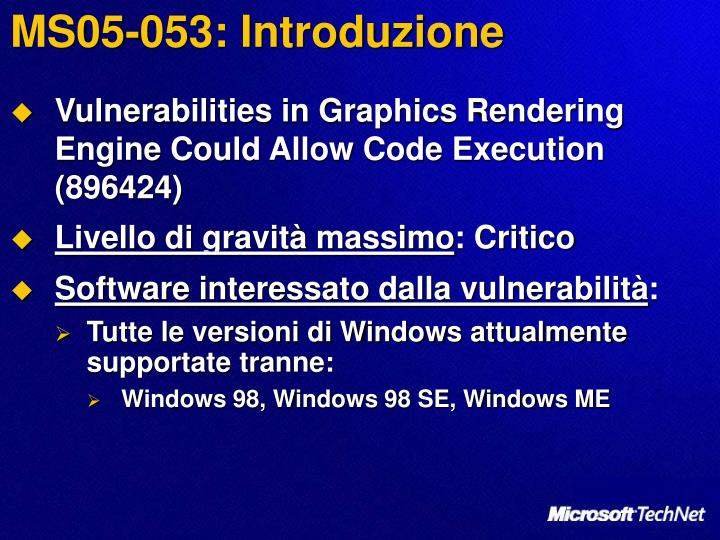 MS05-053: Introduzione