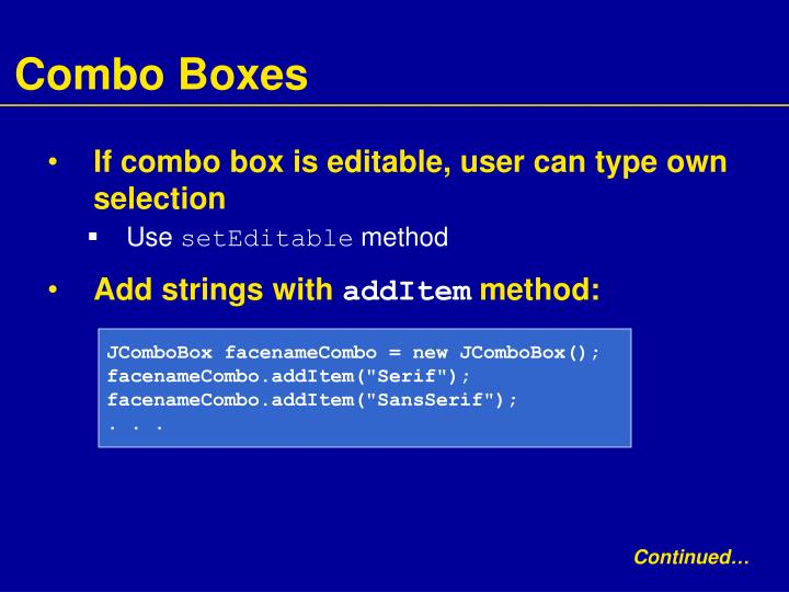 Combo Boxes