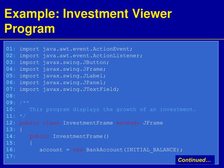 Example: Investment Viewer Program
