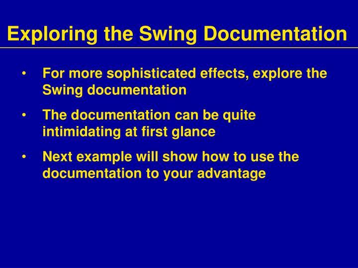 Exploring the Swing Documentation
