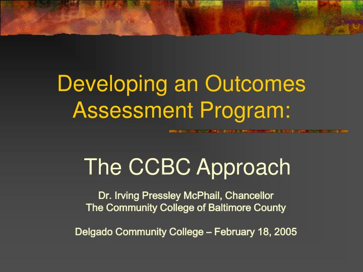 developing an outcomes assessment program n.