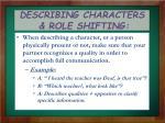 describing characters role shifting
