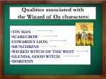 qualities associated with the wizard of oz characters