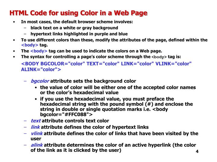 HTML Code for using Color in a Web Page