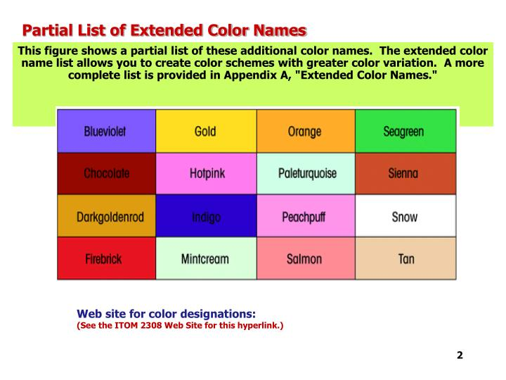 Partial list of extended color names