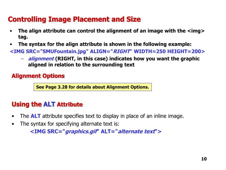 Controlling Image Placement and Size