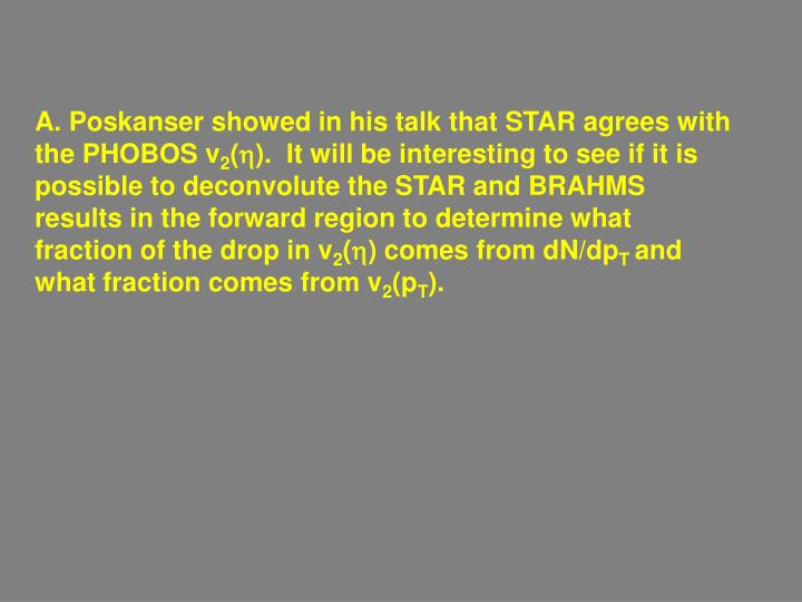 A. Poskanser showed in his talk that STAR agrees with the PHOBOS v