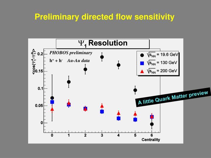 Preliminary directed flow sensitivity