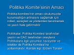 politika komite sinin amac