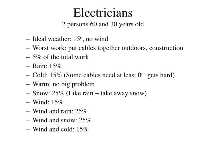 Electricians 2 persons 60 and 30 years old