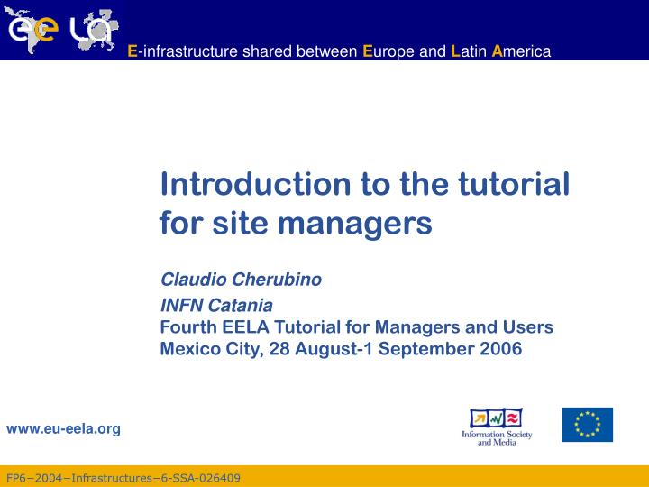introduction to the tutorial for site managers n.