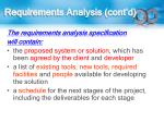 requirements analysis cont d
