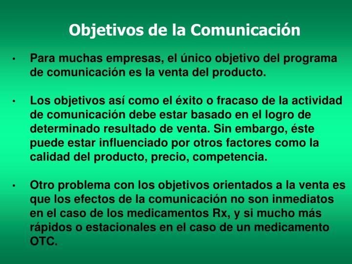 Objetivos de la Comunicación