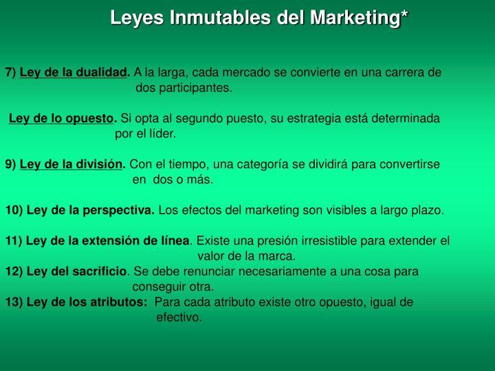 Leyes Inmutables del Marketing*
