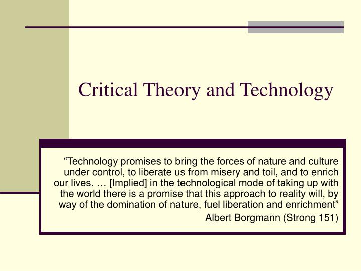 critical theory and technology n.