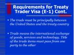 requirements for treaty trader visa e 1 cont