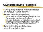giving receiving feedback