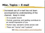 misc topics e mail