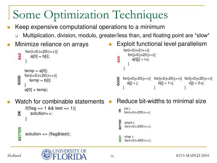 Some Optimization Techniques