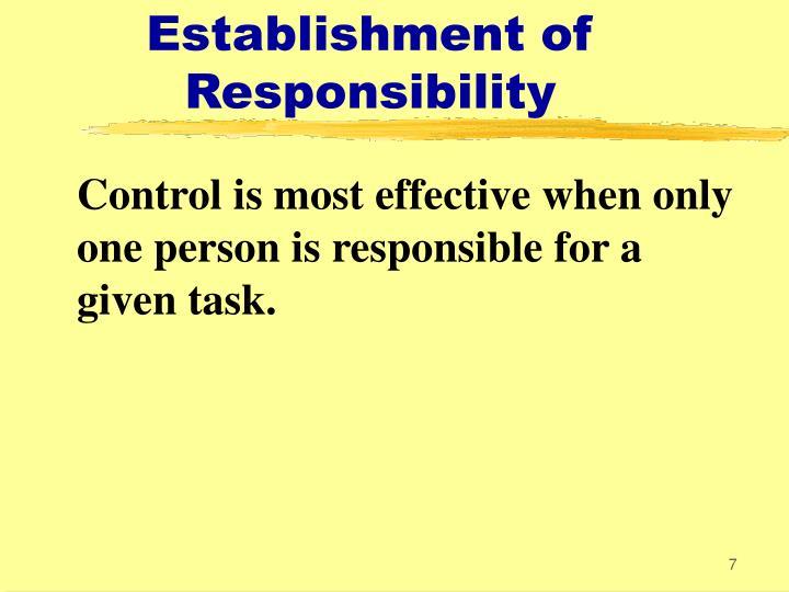 Establishment of Responsibility