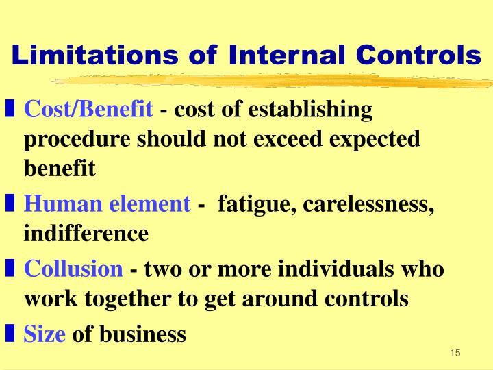 Limitations of Internal Controls
