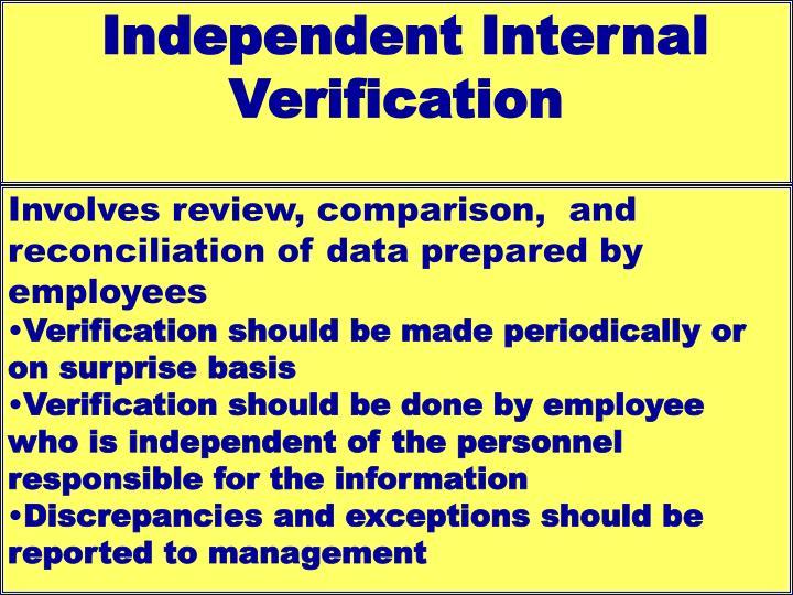 Independent Internal Verification