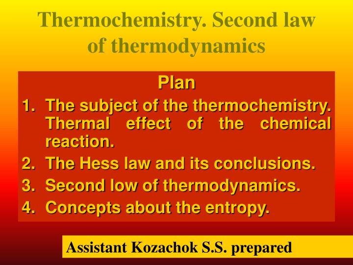 thermochemistry second law of thermodynamics n.