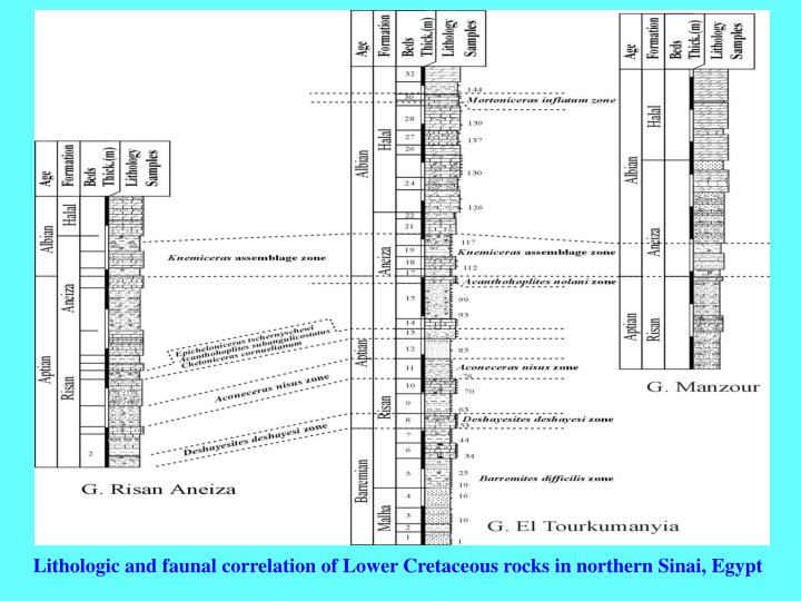 Lithologic and faunal correlation of Lower Cretaceous rocks in northern Sinai, Egypt