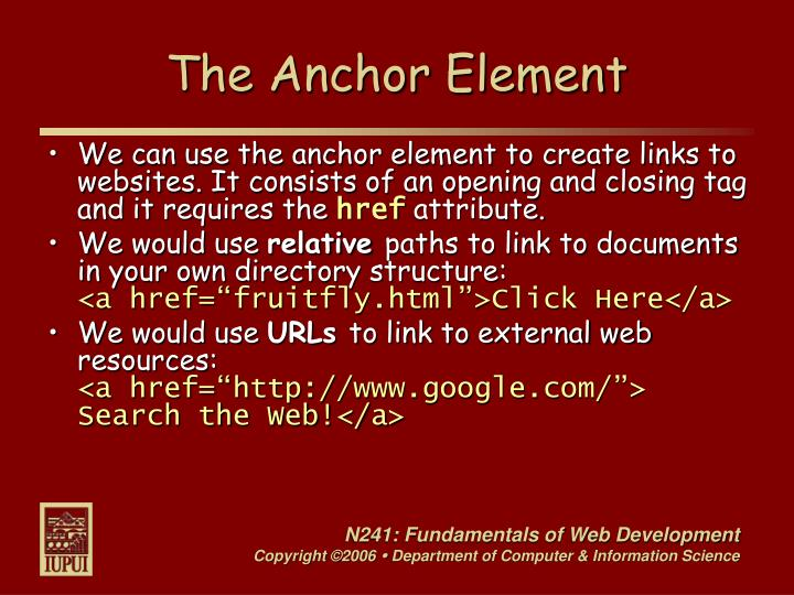 The Anchor Element