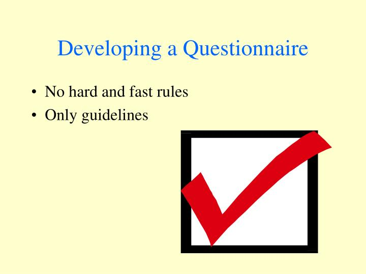 Developing a Questionnaire