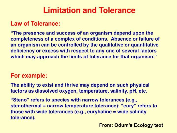 Limitation and Tolerance