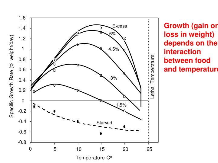 Growth (gain or loss in weight) depends on the interaction between food and temperature.