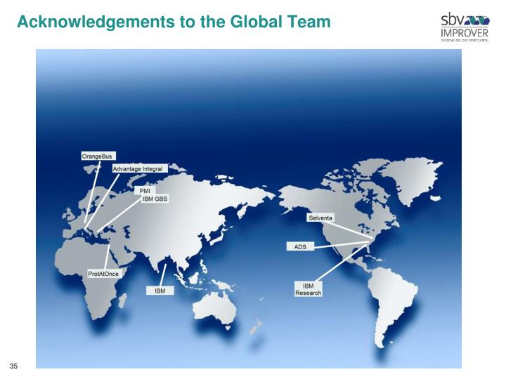 Acknowledgements to the Global Team