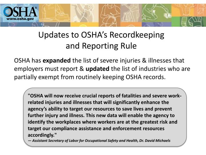 Updates to osha s recordkeeping and reporting rule1