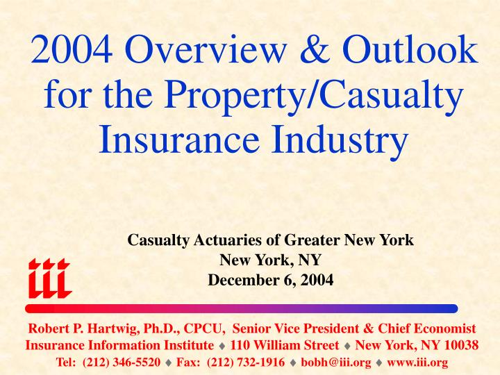 2004 overview outlook for the property casualty insurance industry n.
