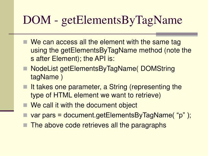 DOM - getElementsByTagName