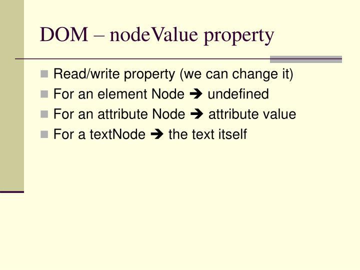 DOM – nodeValue property
