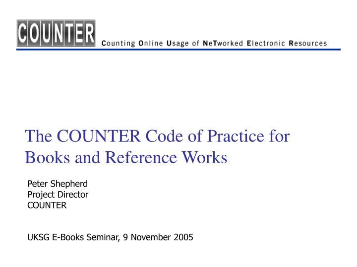 The counter code of practice for books and reference works