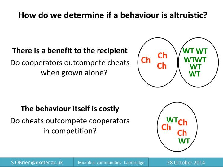 How do we determine if a behaviour is altruistic?