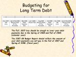 budgeting for long term debt1