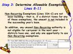 step 3 determine allowable exemptions lines 8 11