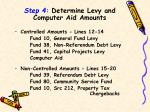 step 4 determine levy and computer aid amounts