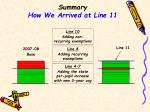 summary how we arrived at line 11