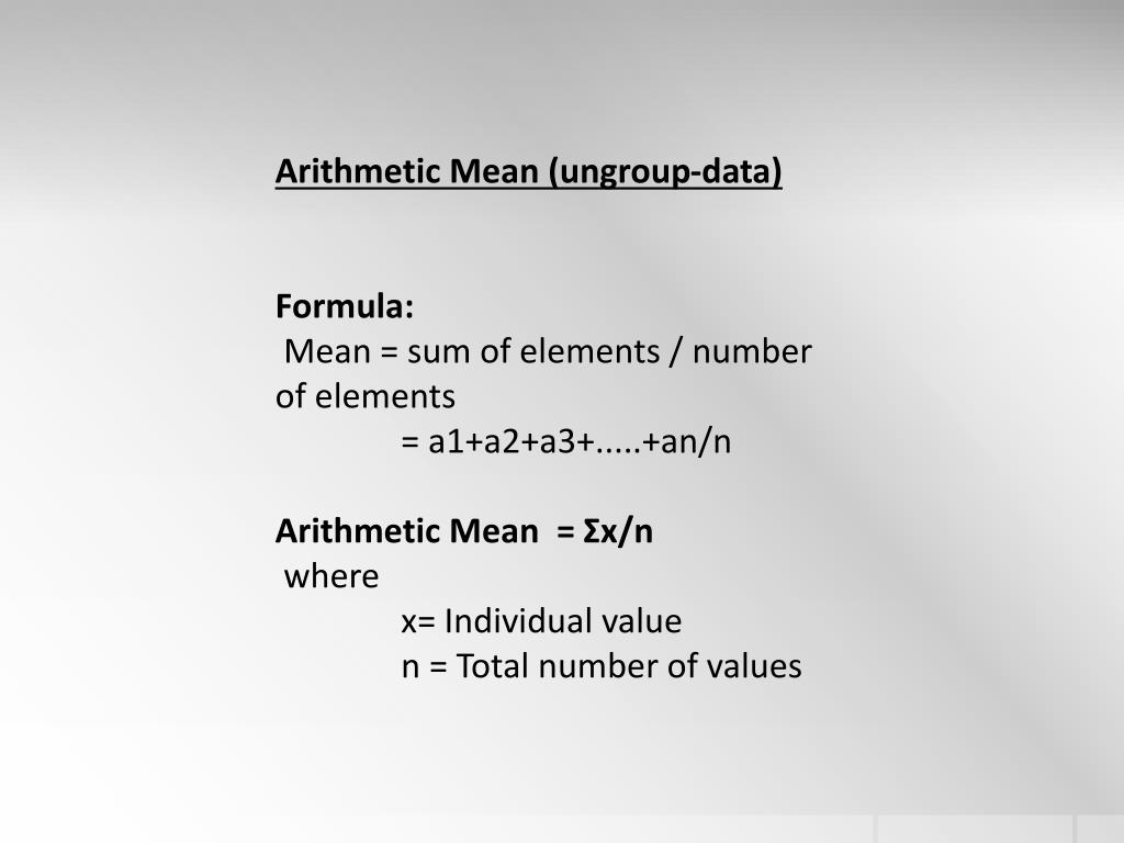 Arithmetic Mean In Statistics Slideshare