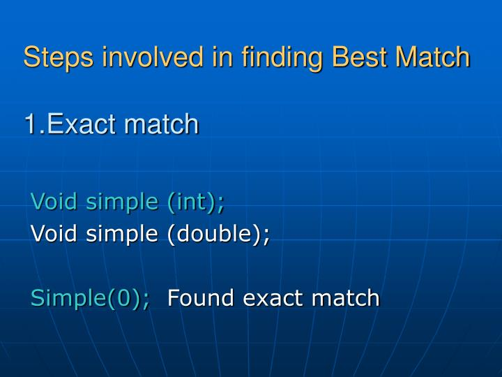 Steps involved in finding Best Match